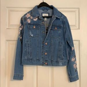 Forever 21 Denim Jacket with Flower Embellishments
